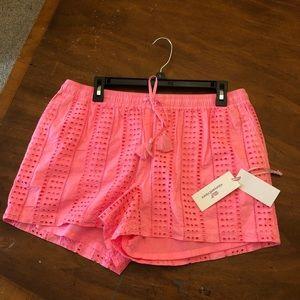 Neon pink vineyard vines eyelet pull on shorts